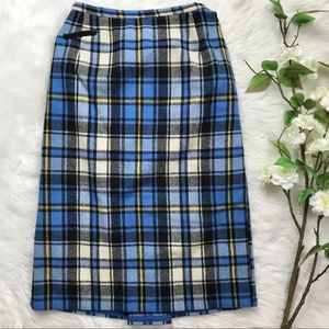 Vintage Plaid High Waist Wool Blend Pencil Skirt